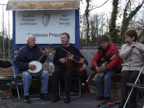 Music for Pat at the prison gates, played by his neighbours and friends from Erris