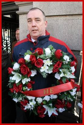 Tim Coffey who is campaigning for victims of gambling. The wreath is in memory of gambling addicts who committed suicide. Gamblepie are an unfunded organisation. For more info, email Tim Coffey at gamblepie.ie