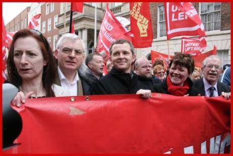 A new force of TDs in the D�il, from left: Clare Daly and Joe Higgins; Socialist Party/ULA - Richard Boyd Barrett and Joan Collins; People Before Profit/ ULA - Seamus Healy; Unemployed Workers Action Group