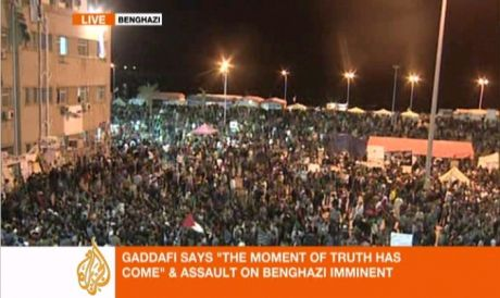 Benghazi on eve of passing UN no-fly resolution and warning of attack by Gaddaffi