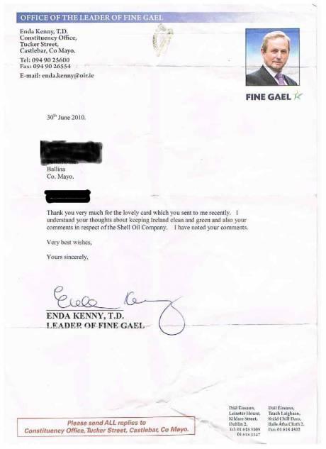 Enda's sincere letter
