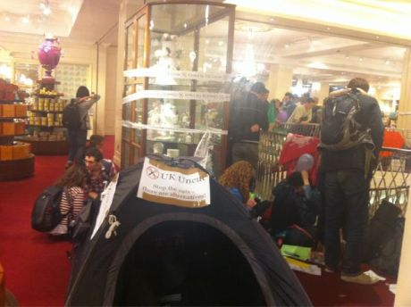 Tents occupy fortnums &masons