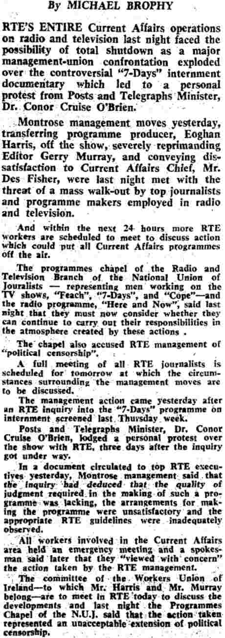 Irish Independent 25 October 1974 reports Conor Cruise O'Brien attack on RTE - and workforce response