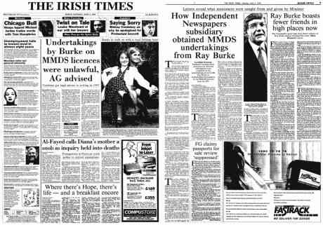 Ray Burke and Independent newspapers connection Irish Times 6 June 1998 - see text of article and PDF dossier