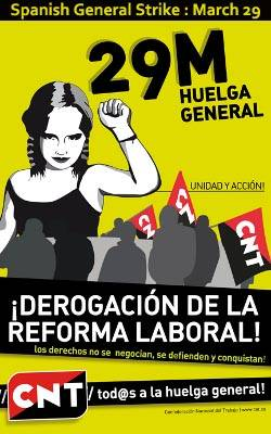 Spain: The CNT calls for a nationwide general strike on March 29 2012