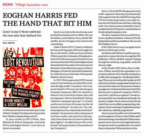 Eoghan Harris and RTE were the target of attack in 1974 - today he is attacking RTE - Village September 2009