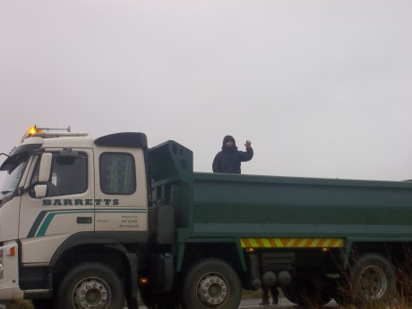 On top of the Barrett's lorry