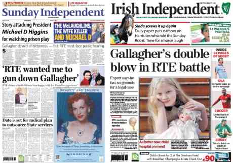 Sunday Independent promotes failed Fianna Fail candiate Gallagher and attacks Michael D Higgins (see story below masthead)
