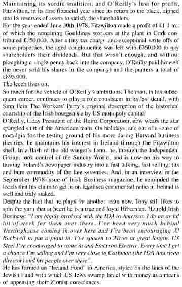 How Harris's SFWP wrote about Tony ('Sir Anthony) O'Reilly, Harris's boss today, in 1976