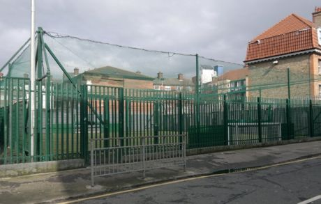 Recreation facility in Digges Lane off Aungier Street.  Photographed 20th March 2013.