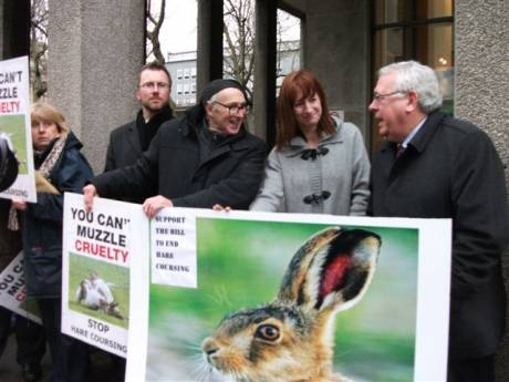 Anti hare coursing picket at Dail (includes Deputies Clare Daly and Joe Costello)