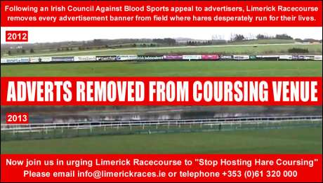 "Advertisers absent for this year's ""Irish Cup"" live hare coursing event on Limerick Racecourse"