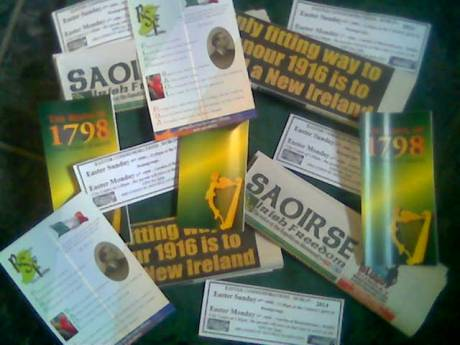 A total of 325 'leaflet packs' (1,500 items) will be distributed at this commemoration on Easter Monday , 21st April 2014.