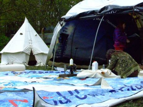 Tipi making. Setting out, cutting and sewing canvas.
