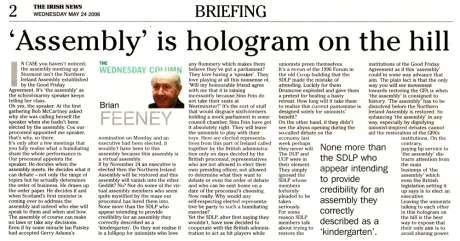 Brian Feeney Irish News 24 May 2006
