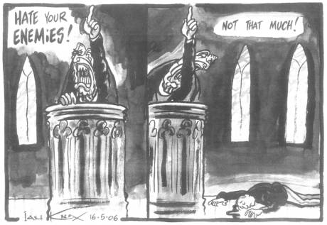 Cartoon with Irish News article by McKay (above)