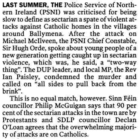 "Unionist sectarianism, a ""two-way thing"", says PSNI's Hugh Orde (McKay IT 13 May 06)"