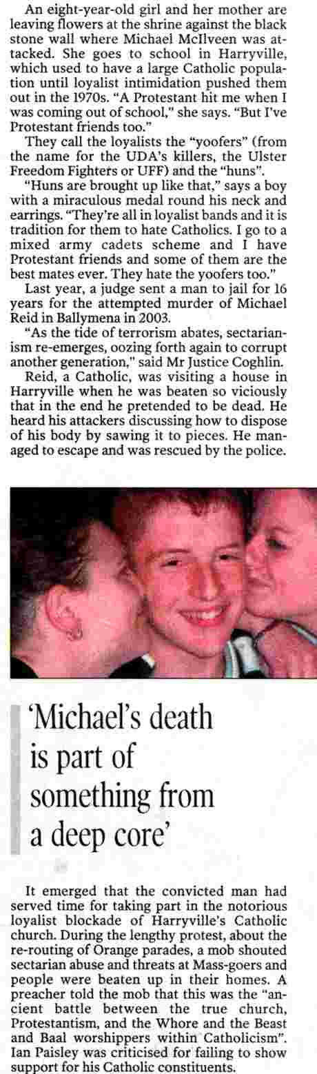 Picture of Michael McIlveen being kissed by Protestant friends - text indicates nexus of unionist sectarianism (McKay IT 13 May 06)