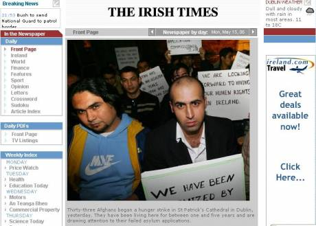 afghani hunger strikers - front page irish times