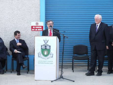 Jim Lennon, chairperson of Louth county council, addresses the multitude.
