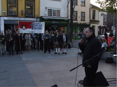 Mick Barry (SP) speaking at Daunt Sq.