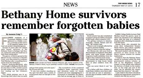 Bethany Home Survivors remember forgotten babies - Irish News 27 May 2010