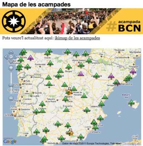 #SpanishRevolution Map of where the actions are happening in Spain