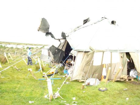 Storm force winds on Monday morning causing damage on camp