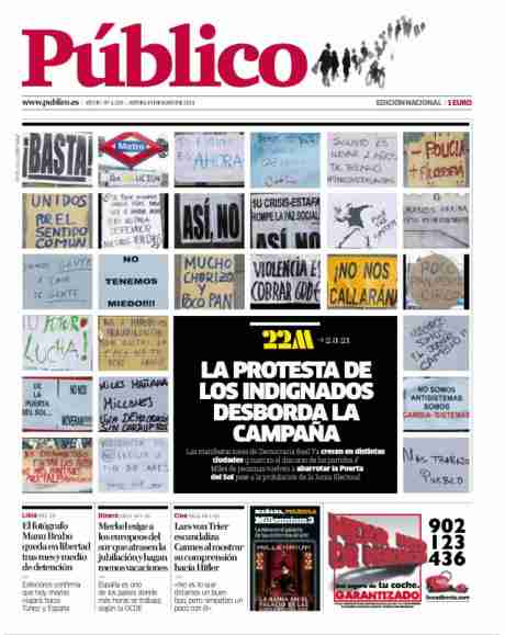 #spanishrevolution > revolutionary ideas on front page of spanish papers