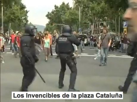 Los Invencibles de la plaza Catalu�a (the invincibles of Catalunya) shot and battered, but not standing down