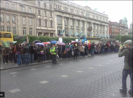 #spanishrevolution - Dublin demo: image and commentry (irish people enjoy being slaves ....very sad)