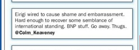Tweet from Labour's Colm Keaveney as shown in Galway Independent