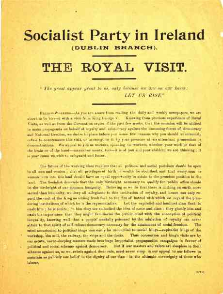 Leaflet circulated by Connolly before last Royal Visit 1911