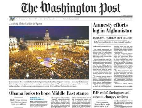 #SpanishRevolution is Washington Post front page news: