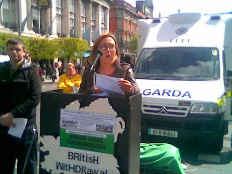 Cait Trainor , RSF Ard Chomhairle , addressing the crowds at the Bobby Sands Commemoration in Dublin , Saturday 5th May 2012.