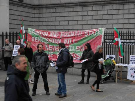 Wider view of the Basque political prisoners' stall on Saturday in Dublin during a quieter moment