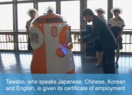Tokyo Tower robot Tawabo guides visitors in four languages