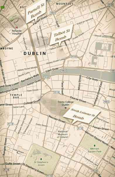 Locations of the Dublin Bombs of 1974