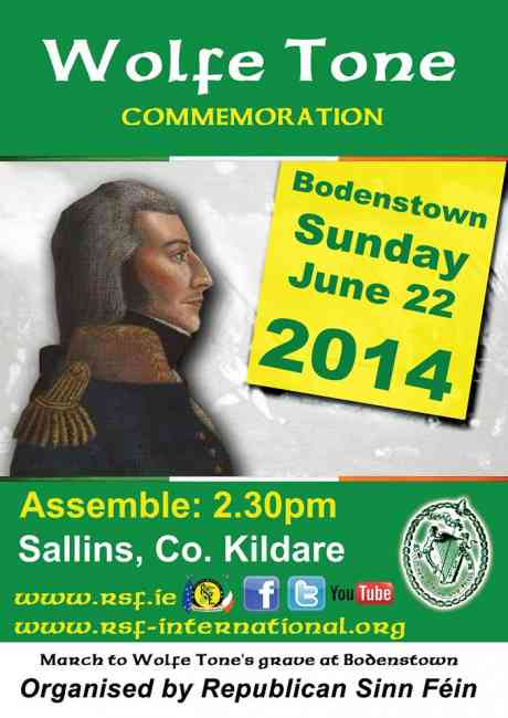 RSF Wolfe Tone Commemoration, Sunday 22nd June 2014.