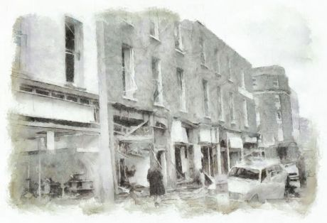 Some of the devastation on Talbot Street in 1974