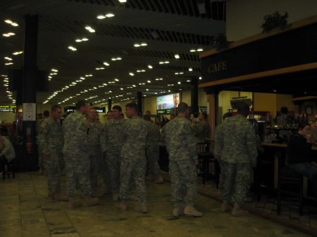 Soldiers at the bar in Shannon Warport returning from Iraq