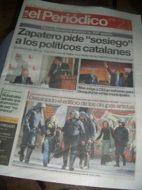 el periodico front page about MAKABRA eviction