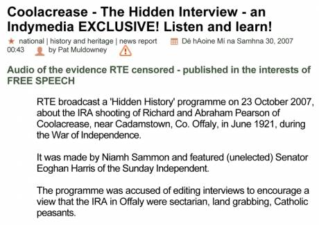 RTE's Hidden Interview - Indymedia EXCLUSIVE! - at http://www.indymedia.ie/article/85285