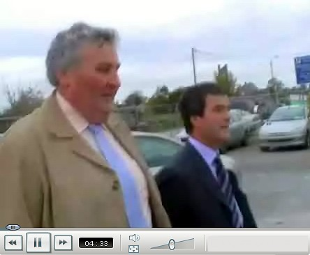 Transport Minister Noel Dempsey is confronted by Tara Protestors