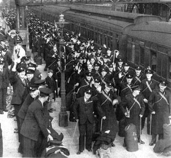 Hitler's British Legion Volunteer Police Force waiting to board their train