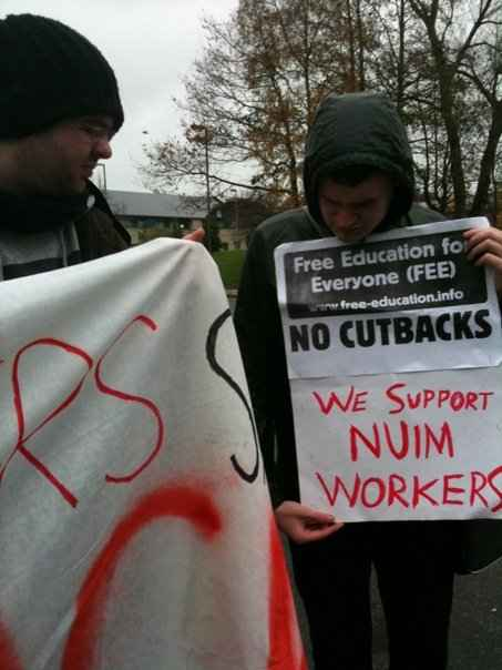 Some NUI Maynooth students on the picket line today.