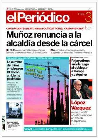Greenpeace banner against BCN twilight - front page news foto