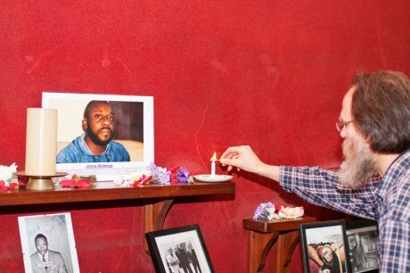 2. Trident Ploughshares Brian Larkin lights a candle for Jimmy Mubenga R.I.P.