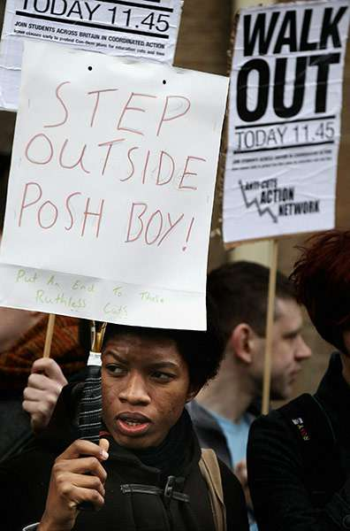 Step outside posh boy - UK students still angry