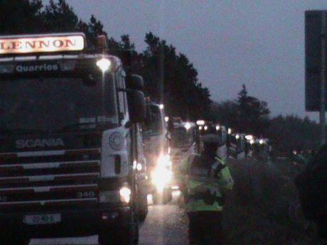 Early morning truck blockade